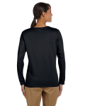 Black Classic Cotton Ladies' Missy Fit Long-Sleeve T as seen from the back