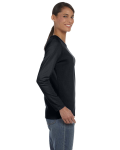 Black Classic Cotton Ladies' Missy Fit Long-Sleeve T as seen from the sleeveleft