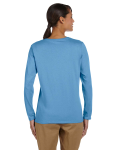 Carolina Blue Classic Cotton Ladies' Missy Fit Long-Sleeve T as seen from the back