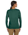 Forest Green Classic Cotton Ladies' Missy Fit Long-Sleeve T as seen from the back