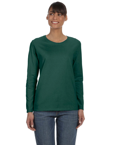 Forest Green Classic Cotton Ladies' Missy Fit Long-Sleeve T as seen from the front
