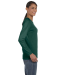 Forest Green Classic Cotton Ladies' Missy Fit Long-Sleeve T as seen from the sleeveleft