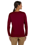 Garnet Classic Cotton Ladies' Missy Fit Long-Sleeve T as seen from the back