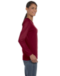 Garnet Classic Cotton Ladies' Missy Fit Long-Sleeve T as seen from the sleeveleft