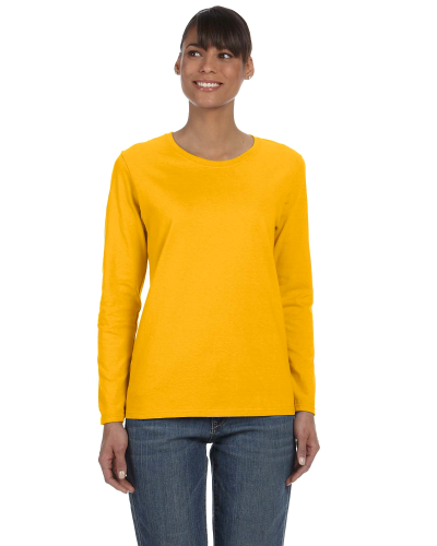 Gold Classic Cotton Ladies' Missy Fit Long-Sleeve T as seen from the front