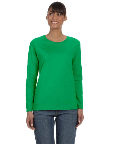 Irish Green Classic Cotton Ladies' Missy Fit Long-Sleeve T as seen from the front