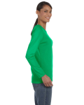 Irish Green Classic Cotton Ladies' Missy Fit Long-Sleeve T as seen from the sleeveleft