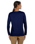 Navy Classic Cotton Ladies' Missy Fit Long-Sleeve T as seen from the back