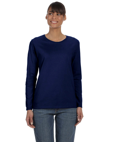 Navy Classic Cotton Ladies' Missy Fit Long-Sleeve T as seen from the front