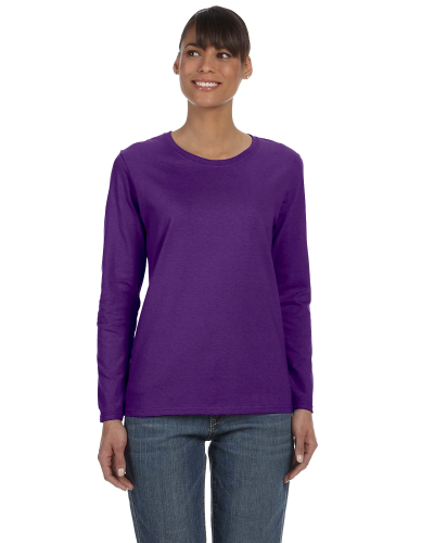 Purple Classic Cotton Ladies' Missy Fit Long-Sleeve T as seen from the front