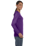 Purple Classic Cotton Ladies' Missy Fit Long-Sleeve T as seen from the sleeveleft