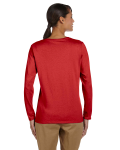 Red Classic Cotton Ladies' Missy Fit Long-Sleeve T as seen from the back