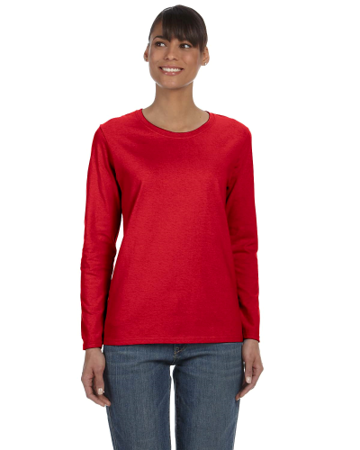 Red Classic Cotton Ladies' Missy Fit Long-Sleeve T as seen from the front