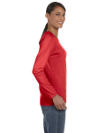 Red Classic Cotton Ladies' Missy Fit Long-Sleeve T as seen from the sleeveleft