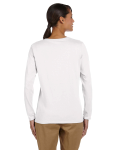 White Classic Cotton Ladies' Missy Fit Long-Sleeve T as seen from the back