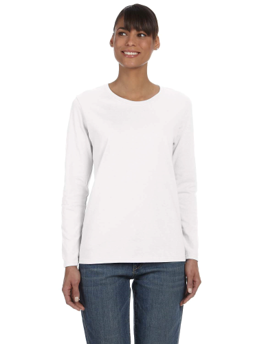 White Classic Cotton Ladies' Missy Fit Long-Sleeve T as seen from the front