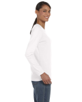 White Classic Cotton Ladies' Missy Fit Long-Sleeve T as seen from the sleeveleft