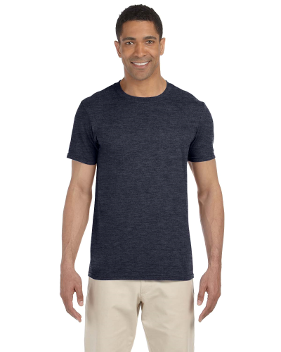 Heather Navy SoftStyle T as seen from the front