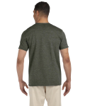 Hthr Military Green SoftStyle T as seen from the back