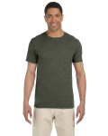 Hthr Military Green SoftStyle T as seen from the front