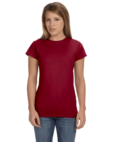 Antque Cherry Red Ladies' 4.5 oz. SoftStyle Junior Fit T-Shirt as seen from the front