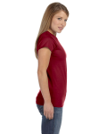 Antque Cherry Red Ladies' 4.5 oz. SoftStyle Junior Fit T-Shirt as seen from the sleeveleft