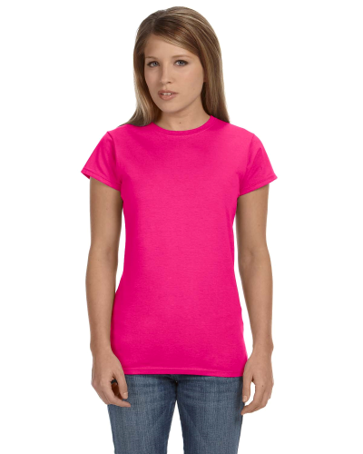 Antque Heliconia Ladies' 4.5 oz. SoftStyle Junior Fit T-Shirt as seen from the front