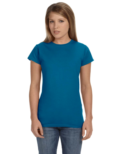 Antque Sapphire Ladies' 4.5 oz. SoftStyle Junior Fit T-Shirt as seen from the front