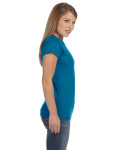 Antque Sapphire Ladies' 4.5 oz. SoftStyle Junior Fit T-Shirt as seen from the sleeveleft
