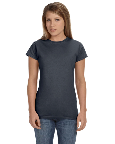 Charcoal Ladies' 4.5 oz. SoftStyle Junior Fit T-Shirt as seen from the front