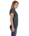 Charcoal Ladies' 4.5 oz. SoftStyle Junior Fit T-Shirt as seen from the sleeveleft