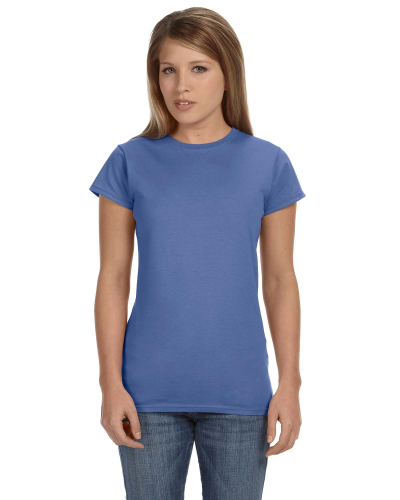 Ciel Blue Ladies' 4.5 oz. SoftStyle Junior Fit T-Shirt as seen from the front