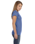 Ciel Blue Ladies' 4.5 oz. SoftStyle Junior Fit T-Shirt as seen from the sleeveleft