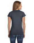 Dark Heather Ladies' 4.5 oz. SoftStyle Junior Fit T-Shirt as seen from the back