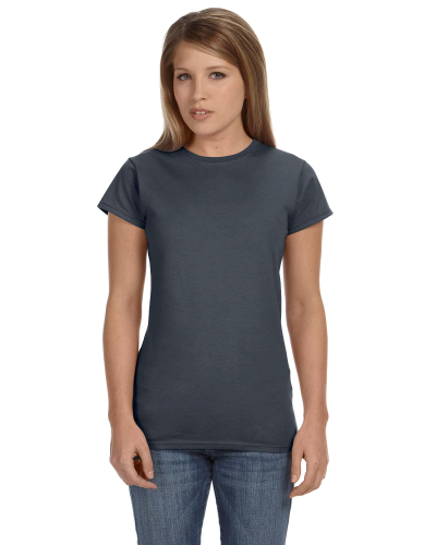 Dark Heather Ladies' 4.5 oz. SoftStyle Junior Fit T-Shirt as seen from the front