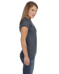 Dark Heather Ladies' 4.5 oz. SoftStyle Junior Fit T-Shirt as seen from the sleeveleft