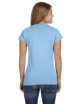 Light Blue Ladies' 4.5 oz. SoftStyle Junior Fit T-Shirt as seen from the back