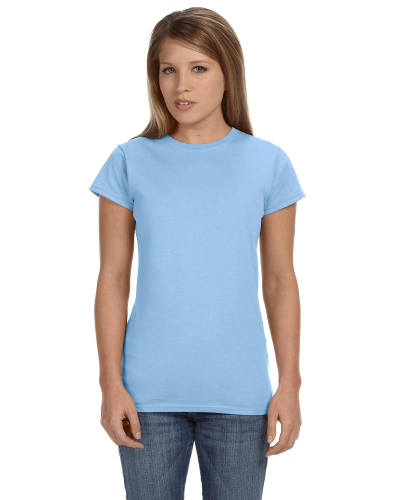 Light Blue Ladies' 4.5 oz. SoftStyle Junior Fit T-Shirt as seen from the front