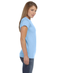 Light Blue Ladies' 4.5 oz. SoftStyle Junior Fit T-Shirt as seen from the sleeveleft