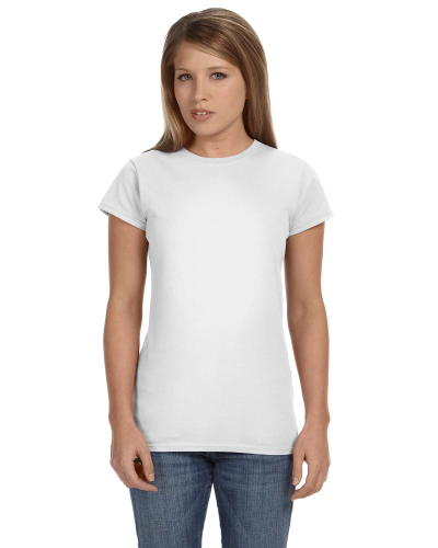 White Ladies' 4.5 oz. SoftStyle Junior Fit T-Shirt as seen from the front