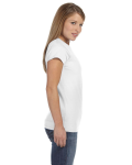 White Ladies' 4.5 oz. SoftStyle Junior Fit T-Shirt as seen from the sleeveleft