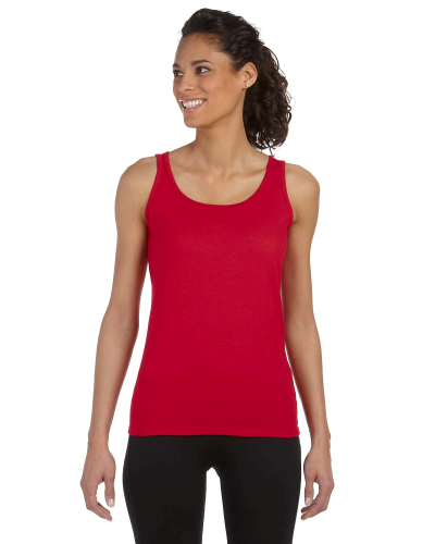 Cherry Red Softstyle® Ladies' 4.5 oz. Junior Fit Tank as seen from the front