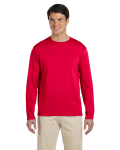 Cherry Red 4.5 oz. SoftStyle Long-Sleeve T-Shirt as seen from the front