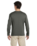 Military Green 4.5 oz. SoftStyle Long-Sleeve T-Shirt as seen from the back