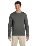 Military Green 4.5 oz. SoftStyle Long-Sleeve T-Shirt as seen from the front