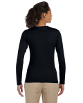 Black Ladies' 4.5 oz. SoftStyle Junior Fit Long-Sleeve T-Shirt as seen from the back