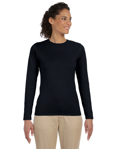 Black Ladies' 4.5 oz. SoftStyle Junior Fit Long-Sleeve T-Shirt as seen from the front