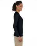 Black Ladies' 4.5 oz. SoftStyle Junior Fit Long-Sleeve T-Shirt as seen from the sleeveleft