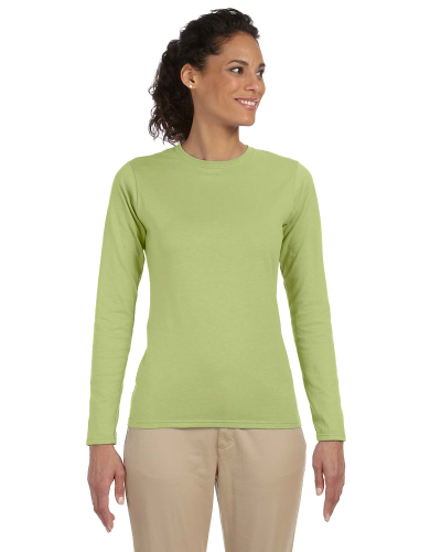 Kiwi Ladies' 4.5 oz. SoftStyle Junior Fit Long-Sleeve T-Shirt as seen from the front