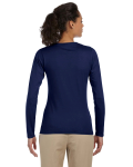 Navy Ladies' 4.5 oz. SoftStyle Junior Fit Long-Sleeve T-Shirt as seen from the back